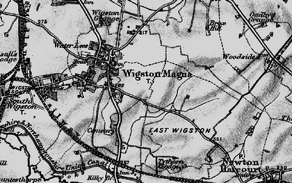 Old map of Wigston Magna in 1899