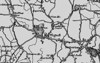 Old map of Wigtoft in 1898