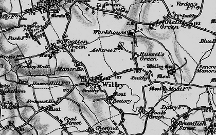 Old map of Wilby in 1898