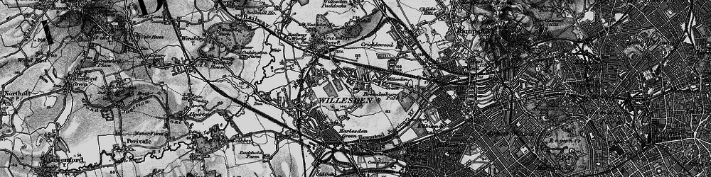 Old map of Willesden in 1896