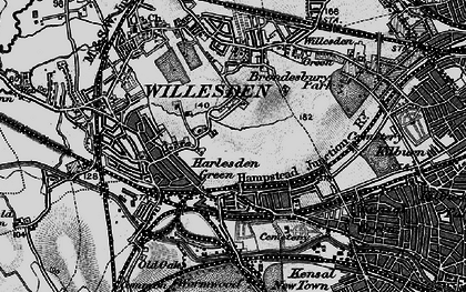 Old map of Willesden Green in 1896