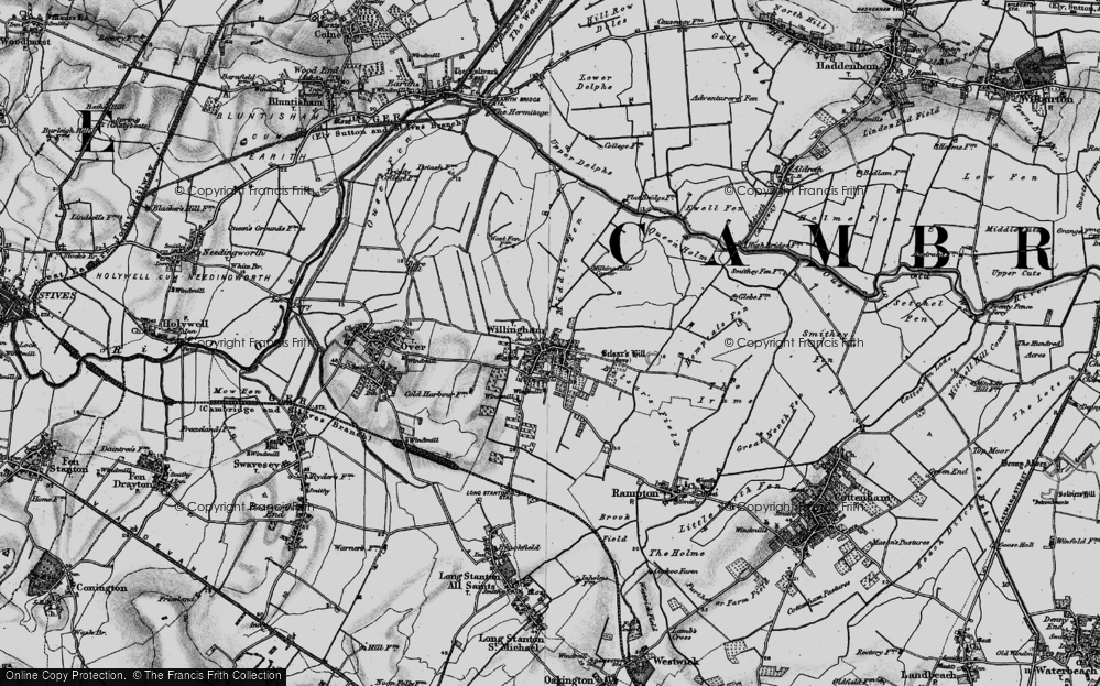 Old Map of Historic Map covering Cambridgeshire in 1898