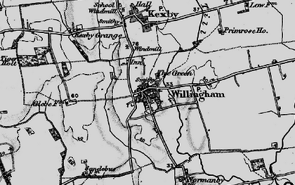 Old map of Willingham by Stow in 1899