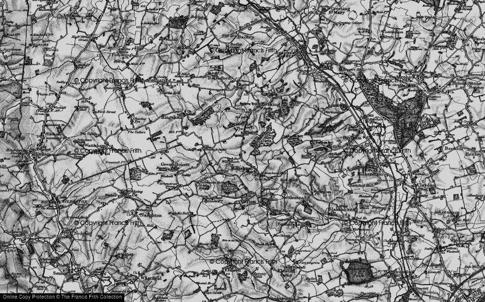 Old Map of Willisham Tye, 1896 in 1896