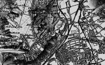 Old map of Wimbledon in 1896