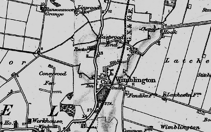 Old map of Wimblington Common in 1898