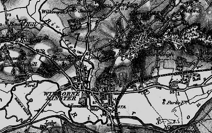 Old map of Wimborne Minster in 1895
