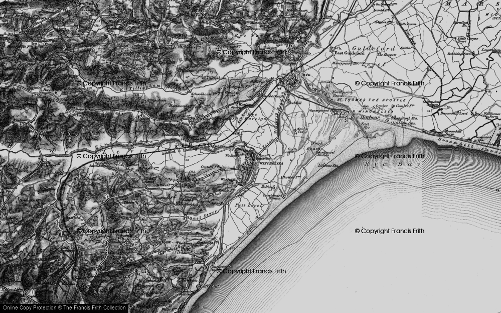 Old Map of Winchelsea, 1895 in 1895
