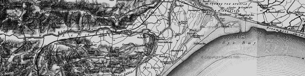 Old map of Winchelsea in 1895