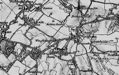 Old map of Wingham Green in 1895