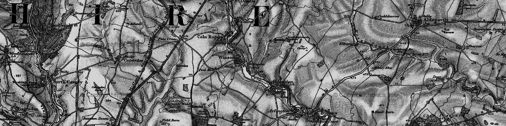 Old map of Ablington Downs in 1896