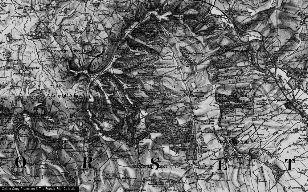 Old Map of Winterborne Houghton, 1898 in 1898