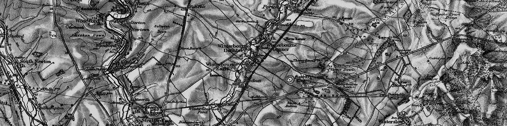 Old map of Winterbourne Earls in 1898