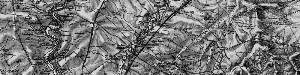 Old map of Winterbourne Gunner in 1898
