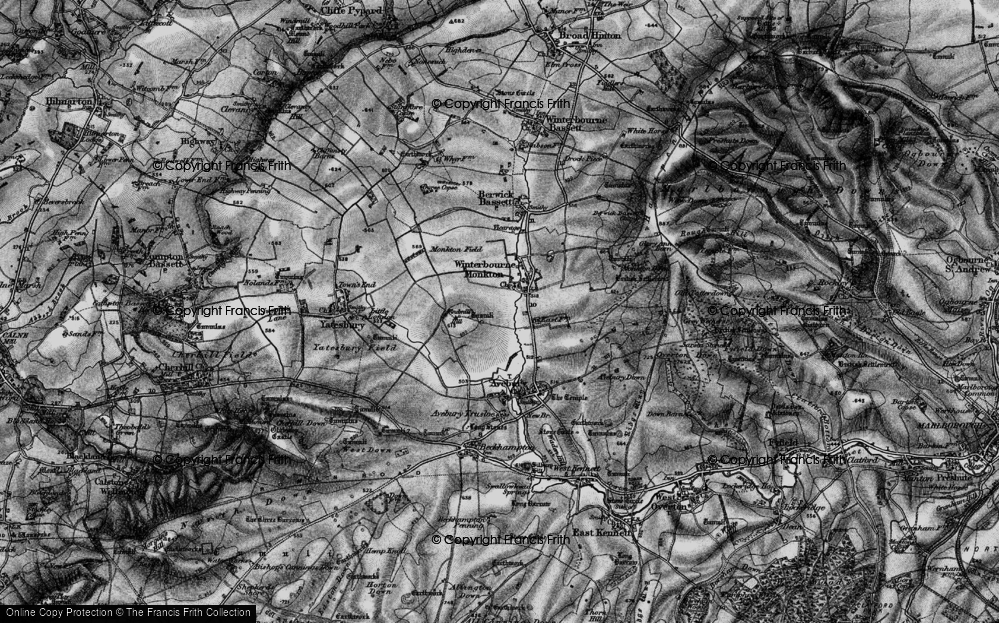 Old Map of Historic Map covering Avebury Manor in 1898