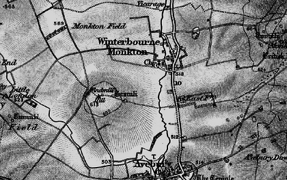 Old map of Winterbourne Monkton in 1898