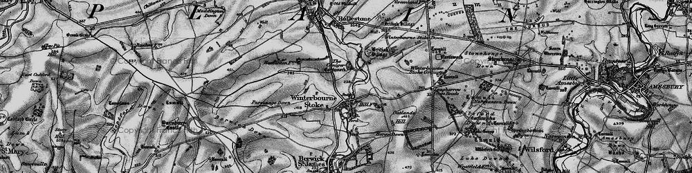 Old map of Winterbourne Stoke in 1898