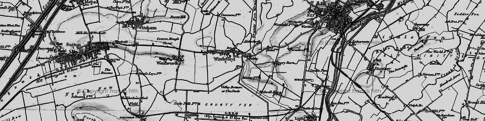 Old map of Witchford in 1898