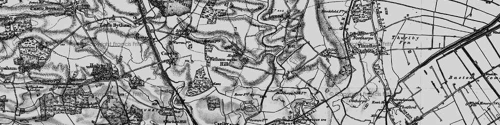 Old map of Witham on the Hill in 1895