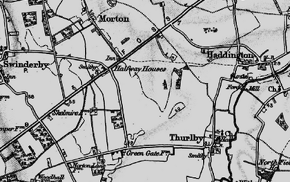 Old map of Witham St Hughs in 1899