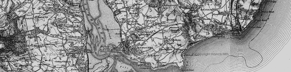 Old map of Withycombe Raleigh in 1898