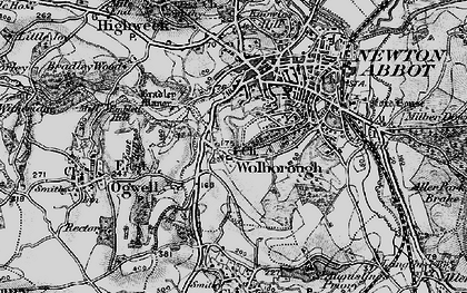 Old map of Wolborough in 1898