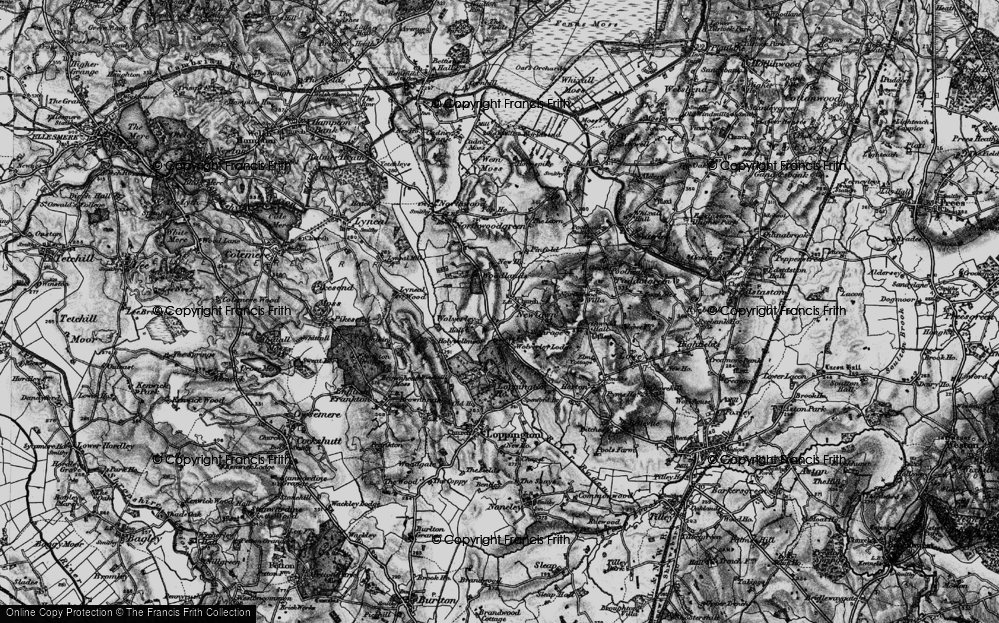Old Map of Historic Map covering Woodlands, The in 1897