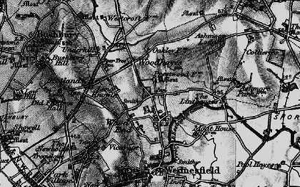 Old map of Wood Hayes in 1899