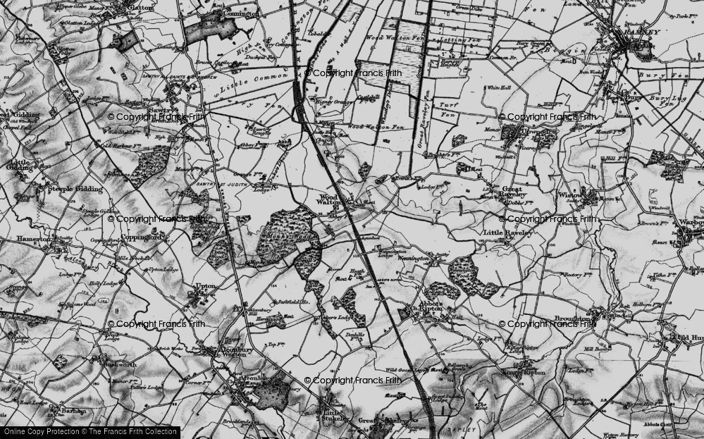 Old Map of Wood Walton, 1898 in 1898