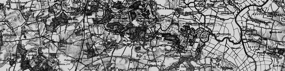 Old map of Woodbastwick Fens & Marshes in 1898