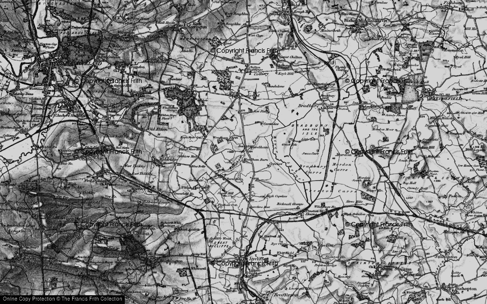 Old Map of Historic Map covering Woodham Burn in 1897