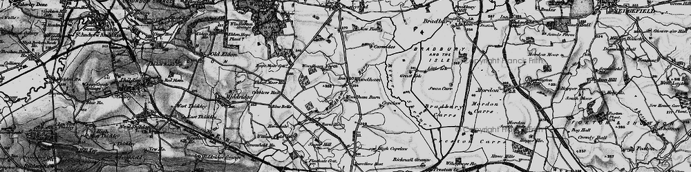 Old map of Woodham in 1897