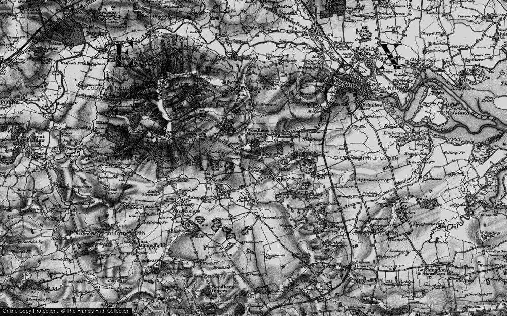 Old Map of Woodham Mortimer, 1896 in 1896