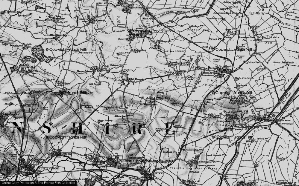 Old Map of Woodhurst, 1898 in 1898