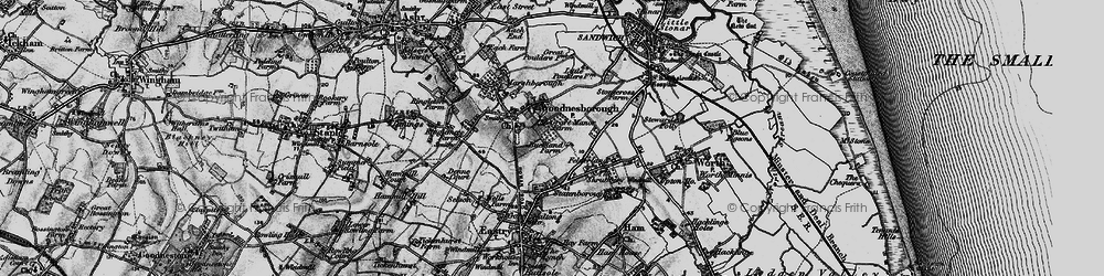 Old map of Woodnesborough in 1895