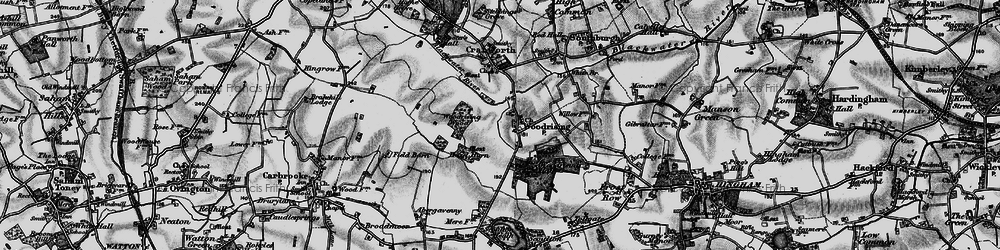Old map of Woodrising Wood in 1898