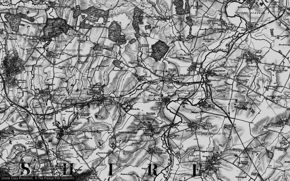 Old Map of Historic Map covering Woodford Ho in 1898