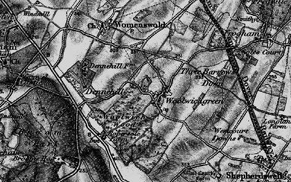 Old map of Woolage Green in 1895