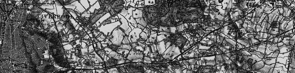 Old map of Woolfall Heath in 1896