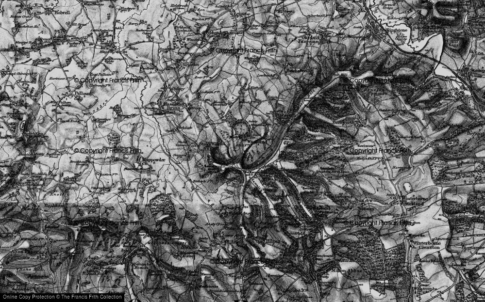 Old Map of Historic Map covering Woolland Hill in 1898