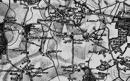 Old map of Woolpit Green in 1898