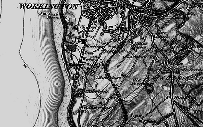 Old map of Workington in 1897