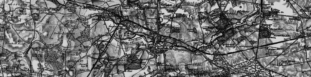 Old map of Worksop in 1899