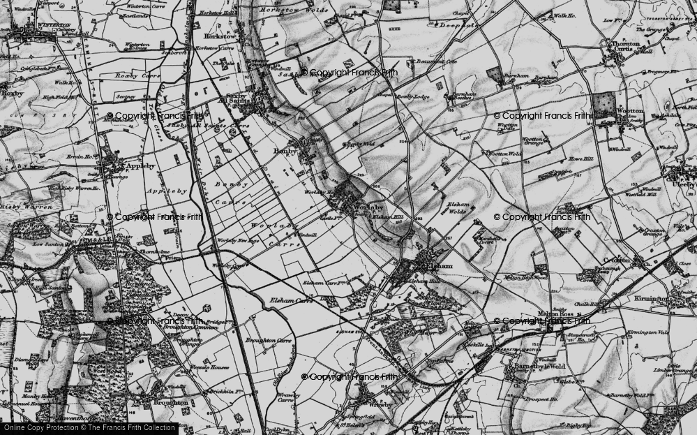 Old Map of Historic Map covering Worlaby Carrs in 1895