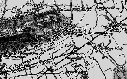 Old map of Worle in 1898