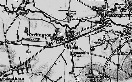 Old map of Worlington in 1898