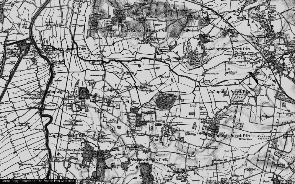 Old Map of Historic Map covering Ling Hills in 1893
