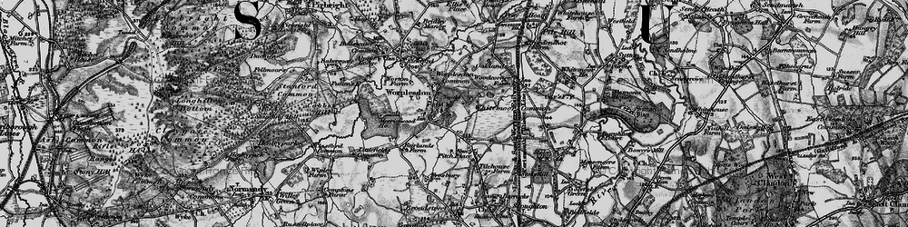 Old map of Worplesdon in 1896
