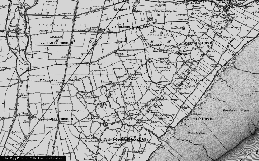 Old Map of Historic Map covering Wrangle Common in 1898
