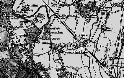 Old map of Wraysbury in 1896